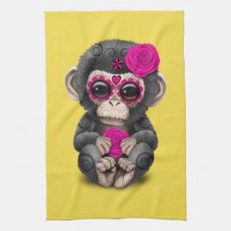 Jour rose du chimpanzé mort serviettes éponge