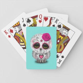 Jour rose du hibou mort de bébé cartes à jouer