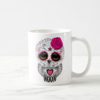 Jour rose mignon du hibou mort de crâne de sucre tasse à café