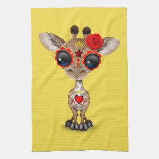 Jour rouge de la girafe morte de bébé serviettes pour les mains