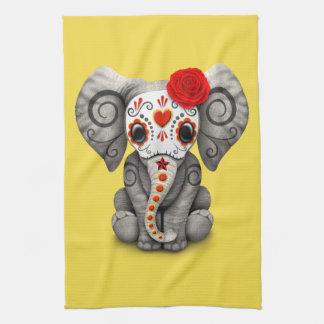 Jour rouge de l'éléphant mort serviette pour les mains