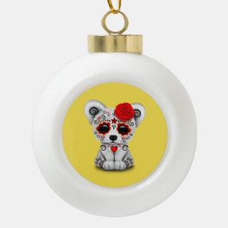 Jour rouge de l'ours blanc de bébé mort boule en céramique