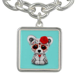 Jour rouge de l'ours blanc de bébé mort bracelets avec breloques