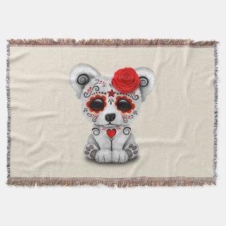 Jour rouge de l'ours blanc de bébé mort couvre pied de lit