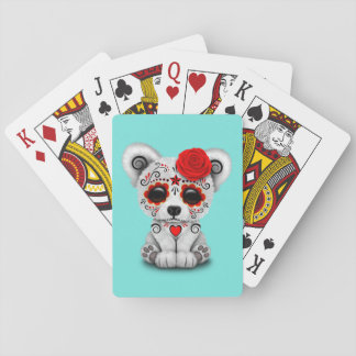 Jour rouge de l'ours blanc de bébé mort jeux de cartes