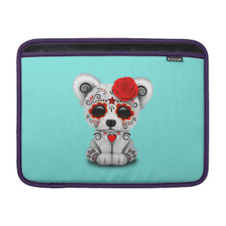 Jour rouge de l'ours blanc de bébé mort poches pour macbook air