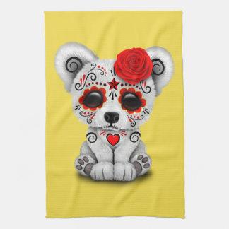 Jour rouge de l'ours blanc de bébé mort serviette pour les mains
