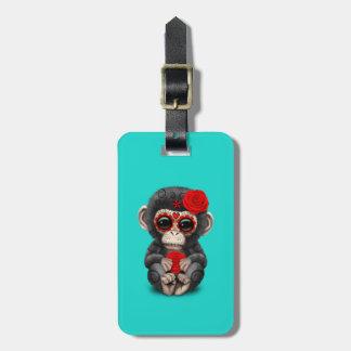 Jour rouge du chimpanzé mort étiquette à bagage