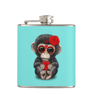 Jour rouge du chimpanzé mort flasques