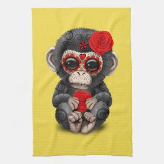 Jour rouge du chimpanzé mort serviettes pour les mains
