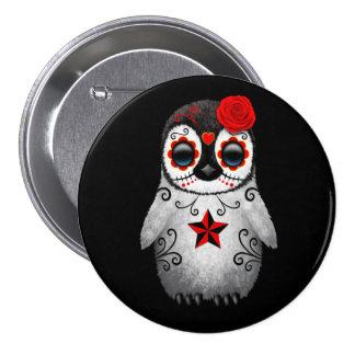Jour rouge du noir mort de pingouin de crâne de badge
