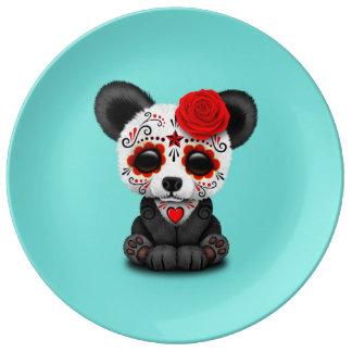 Jour rouge du panda mort assiette en porcelaine