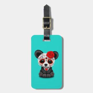 Jour rouge du panda mort étiquette à bagage