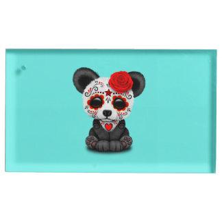 Jour rouge du panda mort porte-carte de table