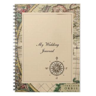 Journal antique de mariage de carte de Vieux Monde