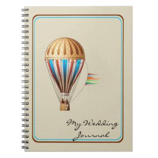Journal chaud vintage de mariage de ballon à air
