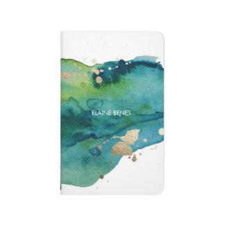 Journal d'aquarelle de vert bleu et d'or