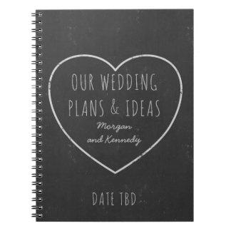 Journal de plans et d'idées de mariage de tableau carnet à spirale