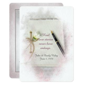 Journal de renouvellement de voeu de mariage avec carton d'invitation  12,7 cm x 17,78 cm