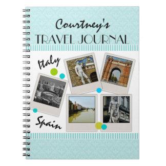 Journal et photos élégants de voyage de damassé d' carnets à spirale