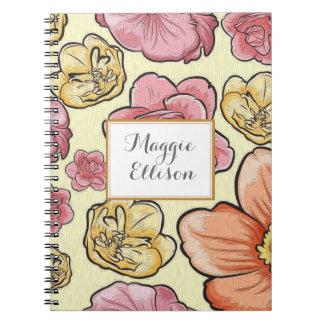 Journal floral jaune-orange rose personnalisé carnet à spirale