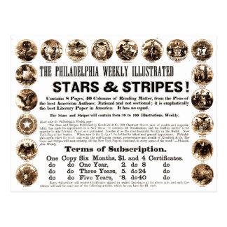 Journal hebdomadaire de 1918 étoiles et de rayures cartes postales