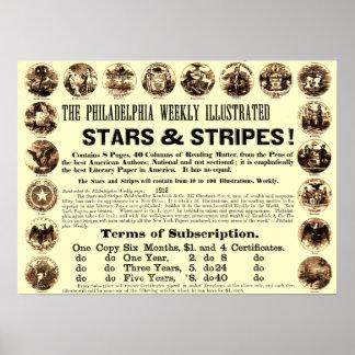 Journal hebdomadaire de 1918 étoiles et de rayures affiches