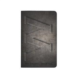 Journal noir en bronze de poche de monogramme en