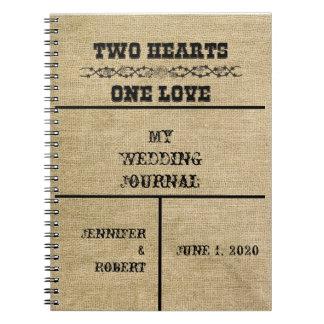 Journal occidental de mariage de toile de jute