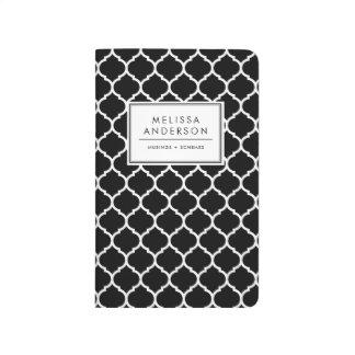 Journal personnalisé par Quatrefoil noir et blanc