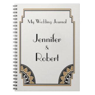 Journal snob de mariage d'or d'art déco