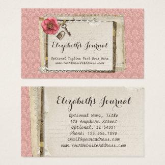 Journal victorien rose chic minable rustique de cartes de visite
