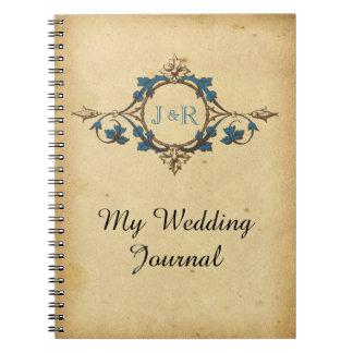Journal vintage de mariage de monogramme de paon
