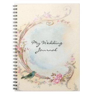 Journal vintage de mariage de rose de rose
