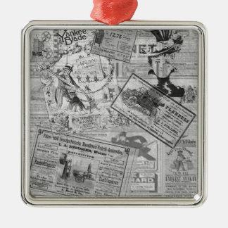 Journal vintage ornement carré argenté