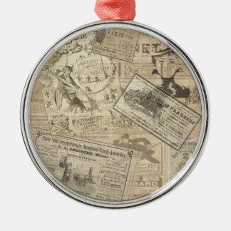 Journal vintage ornement rond argenté