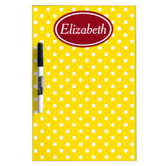 Jours d'école rouges et point de polka jaune tableaux blancs  effaçables à sec