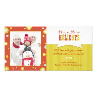 Joyeuse bonnes fêtes photo de famille de pois chic cartes de vœux avec photo