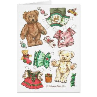 Joyeuse carte de Noël de poupée de papier d'ours