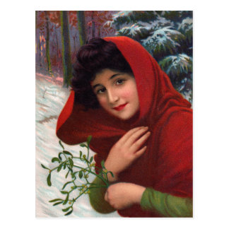 Joyeuse carte postale de jeune fille de gui