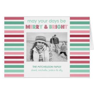 Joyeuse et lumineuse carte de Noël rayée