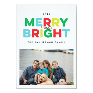 Joyeuse et lumineuse de vacances carte plate de