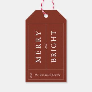 Joyeuse et lumineuse étiquette moderne de cadeau