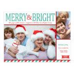 Joyeuse et lumineuse photo bleue et rouge turquois carte postale