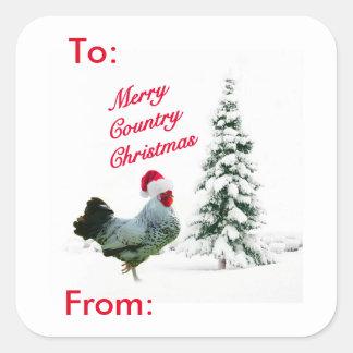 Joyeuse étiquette de cadeau de Père Noël de poulet