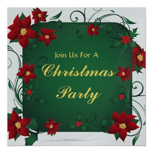 Joyeuse invitation de fête de Noël de poinsettia