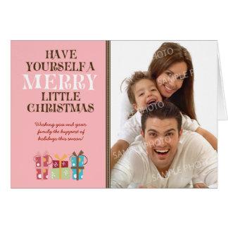 … Joyeuse petite carte de vacances de Noël (rose)