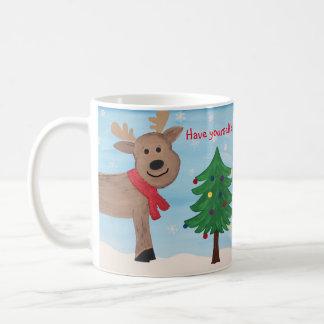 Joyeuse petite tasse de renne de Noël