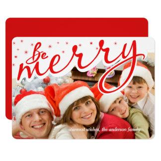 Joyeuse rétro photo de vacances de Noël de Carton D'invitation 12,7 Cm X 17,78 Cm