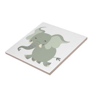 Joyeuse tuile mignonne d'éléphant de bande dessiné petit carreau carré